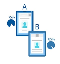 A-b comparison split testing concept computer vector