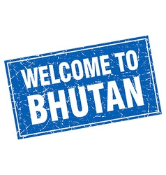 Bhutan blue square grunge welcome to stamp vector