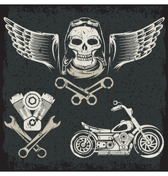 Biker theme label set vector