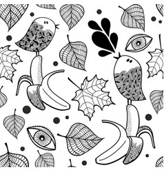 black and white seamless pattern with doodle birds vector image vector image