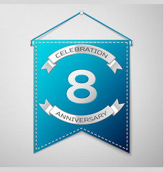 Blue pennant with inscription eight years vector