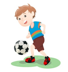 Boy Playing Soccer Ball Cartoon vector image vector image