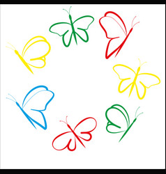 Butterflies colored flying vector