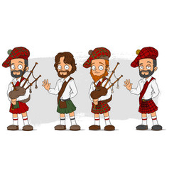 Cartoon scottish with bagpipe characters set vector