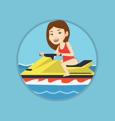 Caucasian woman training on jet ski in the sea vector