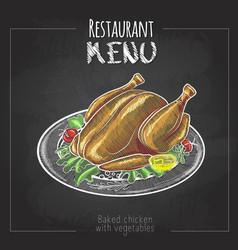 Chalk drawing menu design baked chicken vector