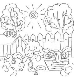 Coloring book carrots in the garden vector