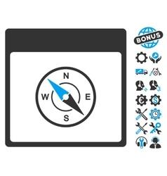 Compass calendar page icon with bonus vector