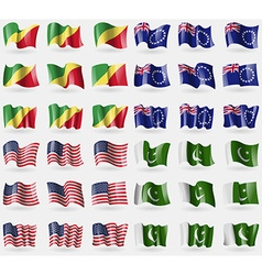 Congo republic cook islands usa pakistan set of 36 vector