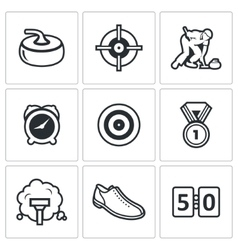 Curling icon set vector image vector image