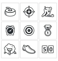 Curling icon set vector