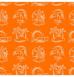 doodle seamless pattern with tropical islands vector image vector image
