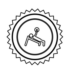 emblem person lifting weights gym vector image vector image
