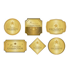 Exclusive collection sale golden badge set gold vector
