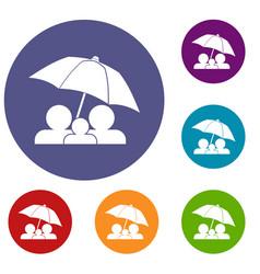 Family under umbrella icons set vector