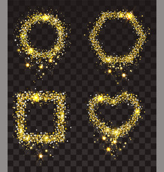 gold stars on transparent background set of frame vector image vector image