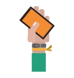 hand holding cellphone with green sleeve vector image