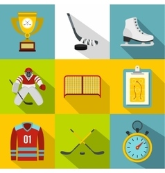 Hockey icons set flat style vector