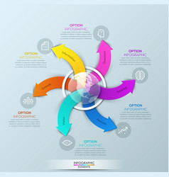 Infographic design template with globe and 6 vector