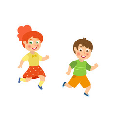 kids children boy and girl playing tag running vector image vector image