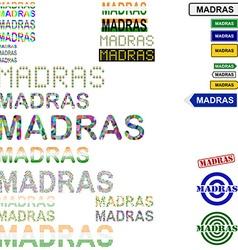 Madras text design set vector