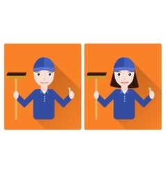 Mini set of two janitors vector image vector image