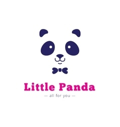 minimalistic panda head with bow tie logo vector image