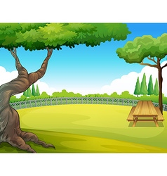 Picnic table in the park vector