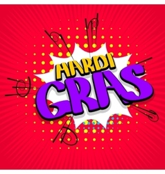 Red lettering Mardi Gras vector image