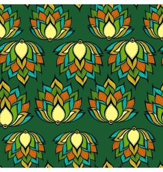 Retro pattern with green handdrawn flowers vector image vector image
