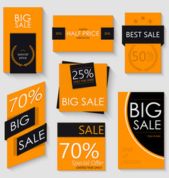 Sale banner template design set of seven orange vector