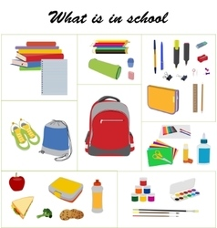 School essentials flat set vector image vector image