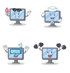Set of monitor character with ice cream sailor vector