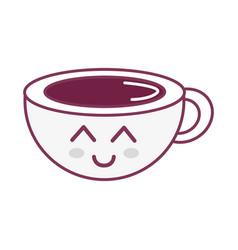 Silhouette kawaii cute happy coffee cup vector