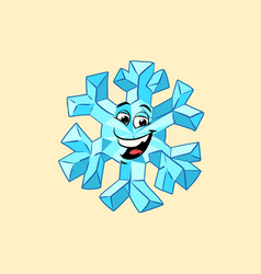 snowflake cute smiley face character vector image vector image
