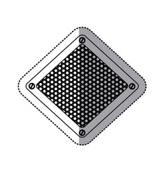 sticker silhouette diamond metallic frame with vector image