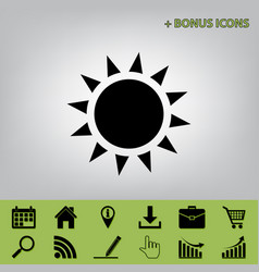 Sun sign black icon at gray vector