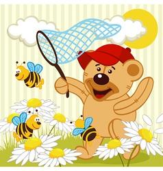 Teddy bear catching bee vector