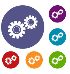 Two gears icons set vector