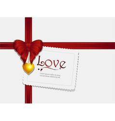 valentine ribbon pendant and card vector image