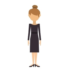 Woman with dress and collected hair vector