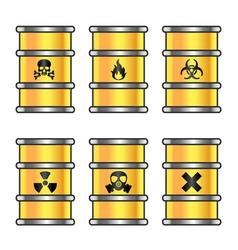 Yellow metallic barrels with warning sign vector image vector image