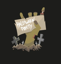 Zombie hand holding banner vector image