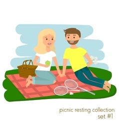 Young couple on picnic together family picnic vector