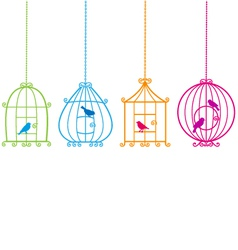 Birdcages with birds vector