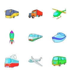 Variety of transport icons set cartoon style vector