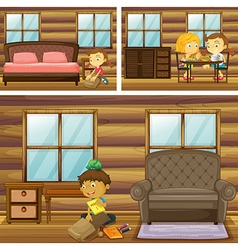 Children doing things in different rooms vector