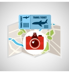 Airline ticket map travel photographic camera vector