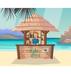 Tiki bar with bartender at sea or ocean shore vector