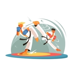 Guys karate sparring for training vector image